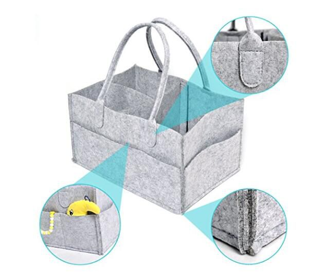 Baby Diaper Caddy Gray Nursery Diaper Tote Bag Multifunction storage bag large portable car travel Organizer Gray Felt Basket bag