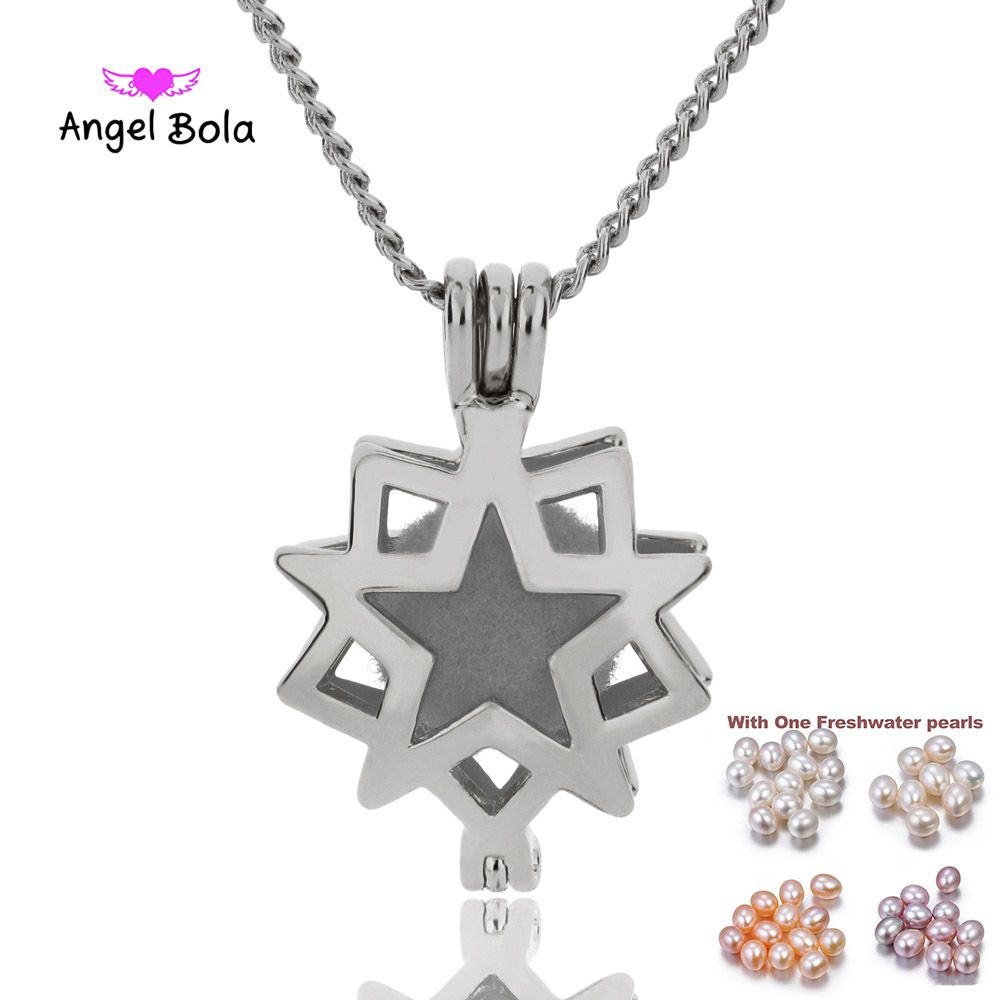 Star Star Necklace Locket Pendant Pearl Cage Jewelry Findings Cage Essential Oil Diffuser Locket For Oyster Pearl