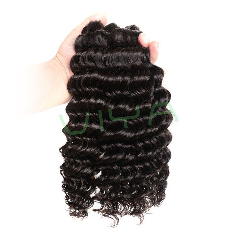 VIYA Deep Wave Indian Virgin Hair Unprocessed Extensions 3 Bundles Natural Black Color No Tangle Hair Extensions WY831H