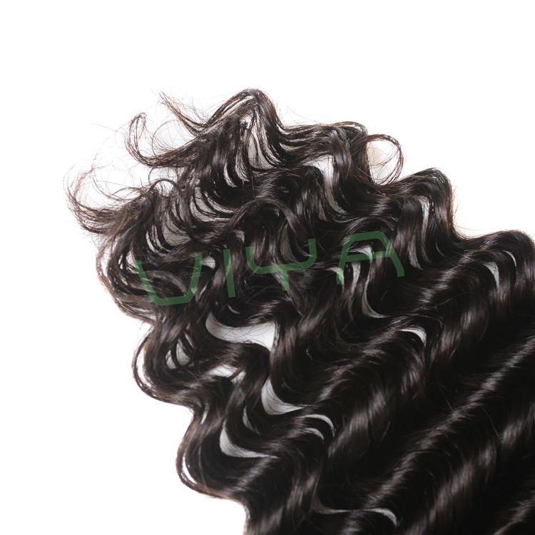VIYA Indian Hair Bundles Deep wave Unprocessed Human Hair Weave 3 Bundles Hair Extensions Natural Color 905C