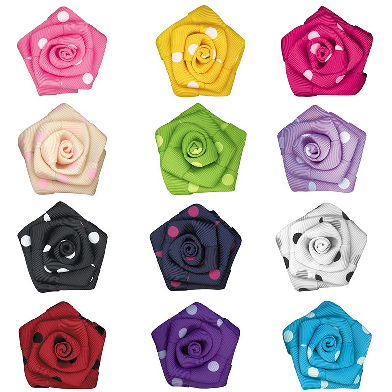Grosgrain Ribbon Dot Pattern Handmade Flower Rose 50Pcs/Bags Grosgrain Gold Wire Edged Large 50mm Crafts Plait Fabric Gift Headwear