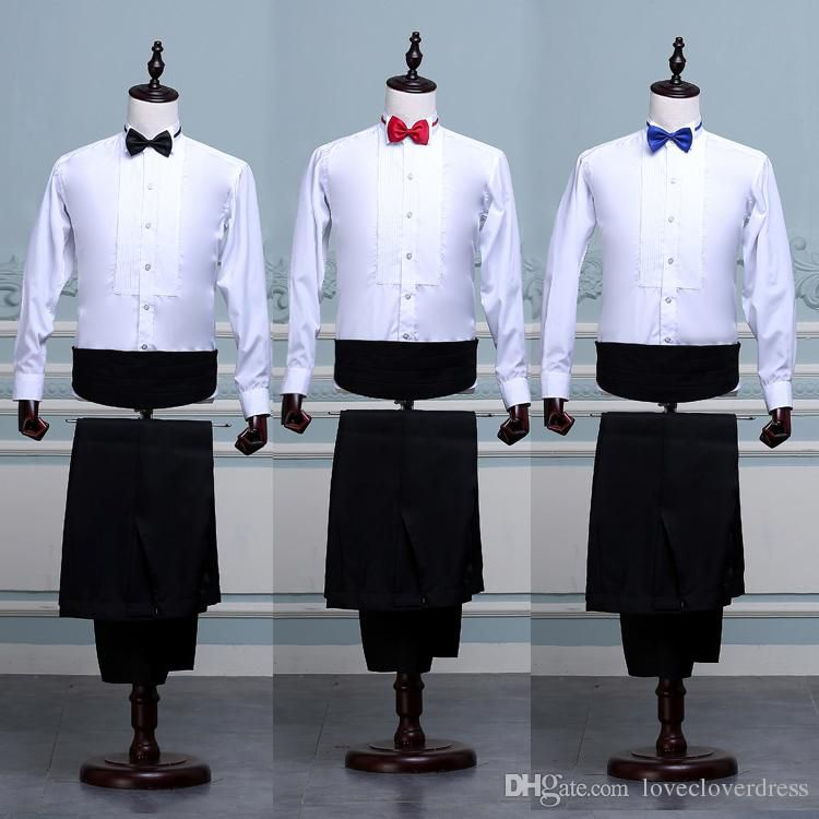 New Arrival White Black Color Long Sleeves Groom Shirt 2017 Hot Sale Groom Shirts Wedding Accessory for Men(Shirt+Pants+Tie)