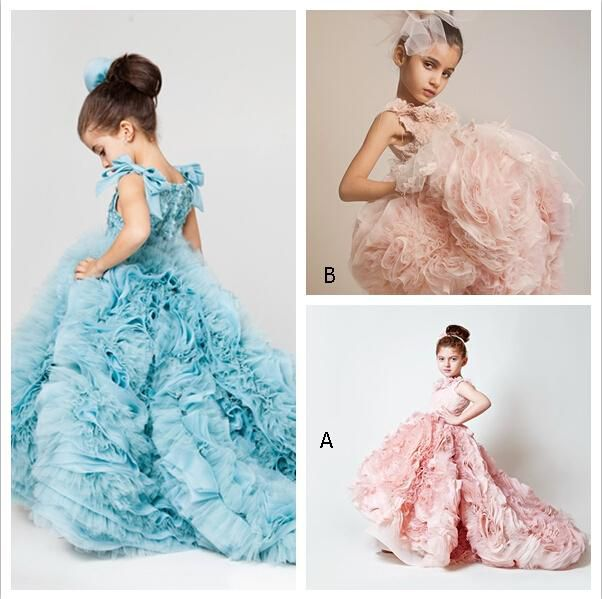 Blush Pink Girls Pageant Dresses 2016 Ball Gowns Cascading Ruffles Unique Designer Child Glitz Pageant Ball Gowns with Handmade Flowers BO38