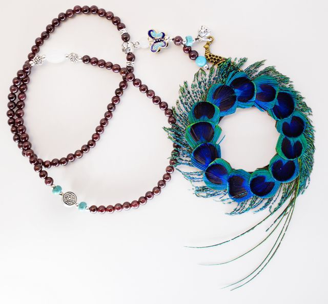 Pure natural peacock feathers fall off, pure handmade feather ornaments, fashionable and novel, unique beauty, Full Moon Necklace