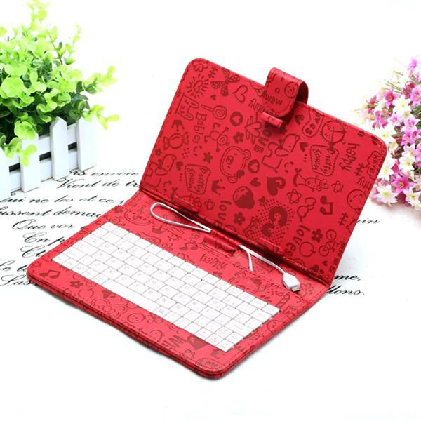 "US Stock! Lovely 7 inch Cute Cartoon Leather Keyboard Cover Case For 7"" Tablet pc MID iRuLu Q88"