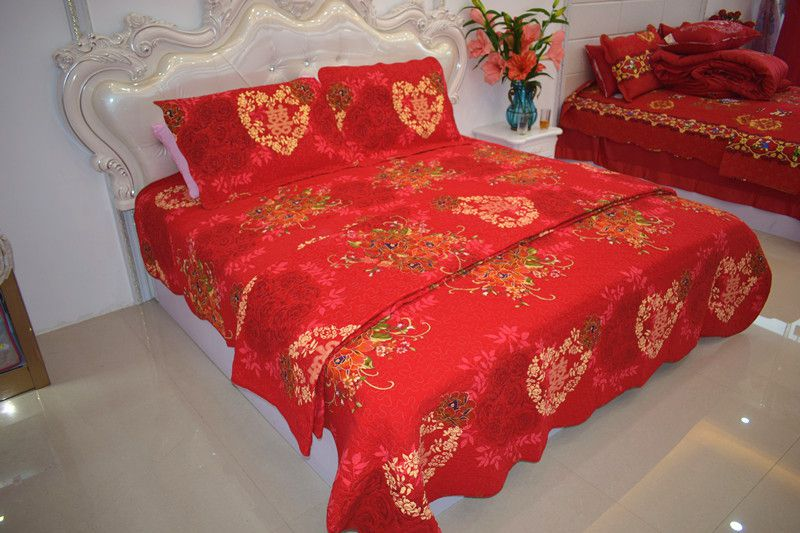 2018 new style hot sale 100%cotton China red wedding four-piece of bed cover