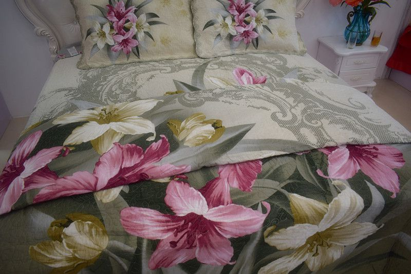 2018 new style hot sale 100%cotton pastoralism dye printed four-piece of bed cover