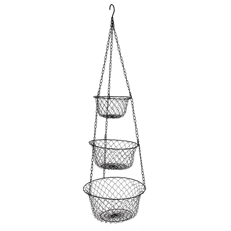 Kg 3 Tier Hanging Fruit Vegetable Kitchen Storage Metal Basket Black Color Folding Availablebfor Home Decoration