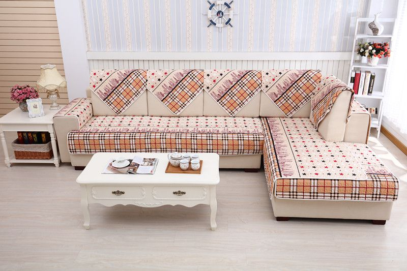 2018 new kind100%cotton stars check skidproof living room four seasons of sofa cover set bay window cushion
