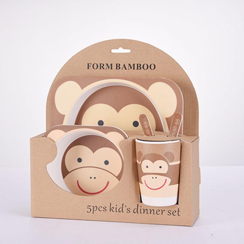 animal zoo baby Plate bow cup Forks Spoon Dinnerware feeding Set,100% bamboo fiber Baby children tableware
