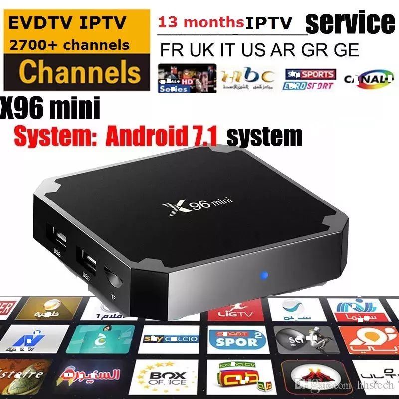 x96 mini android 7 1 OS tv box with EVDTV 2700+ channels ARABIC