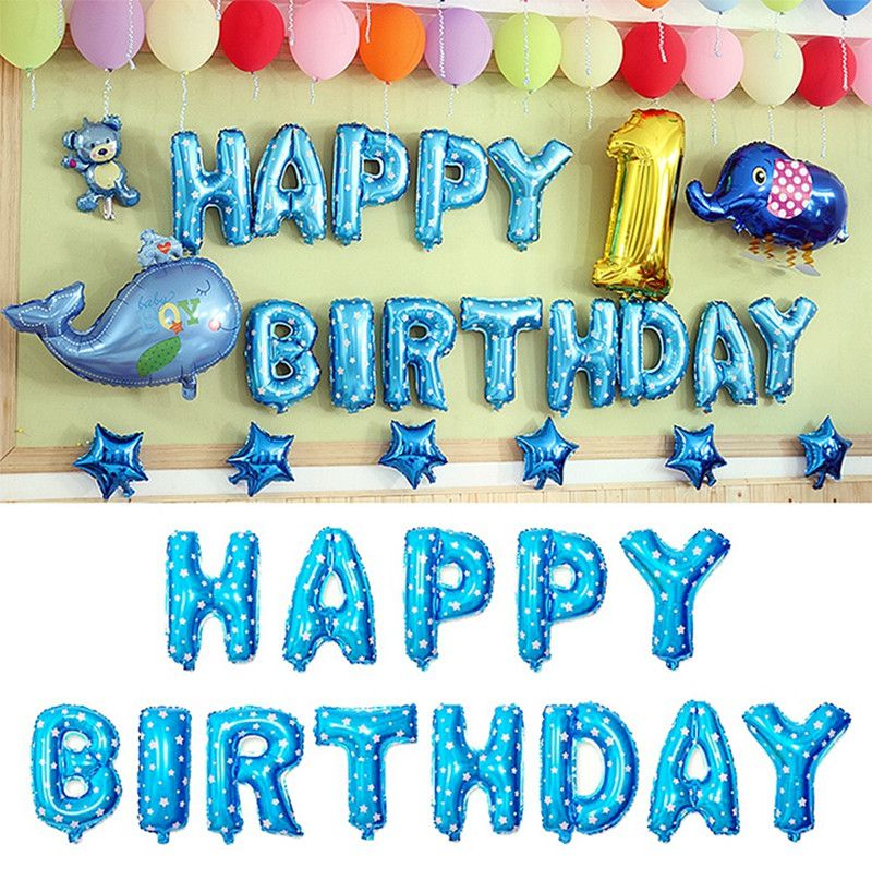 16inch HAPPY BIRTHDAY 13 Letters 40CM Foil Balloons Silver Gold Multicolor Children Happy Birthday Letter Ballons party Decorations Supplies