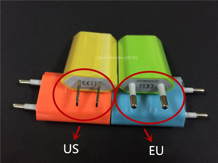 New Colorful US/EU Plug USB Wall Charger Adapter for iphone 7 6 6S 5 5S for Samsung Galaxy S7 S6 S5 Cellphones