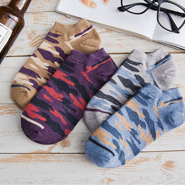 New Men's Camouflage Cotton Socks, Boat Socks, Invisible Socks and Leisure Socks