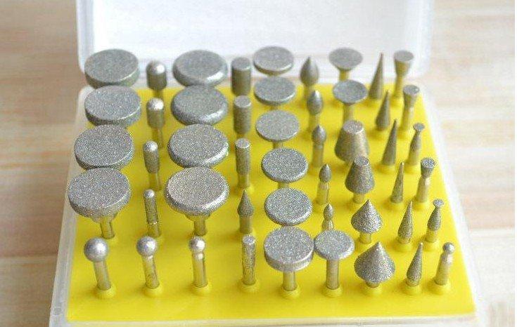 50pc/lots Diamond burr set glass Dremel rotary bit ceramic tile lapidary 120 Grit freeshipping