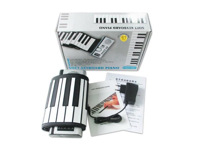 Flexible Synthesizer Hand Roll up Roll-Up USB Soft Portable Electronic Piano Keyboard 61 Keys MIDI Build in Speaker with CE 36 pcs