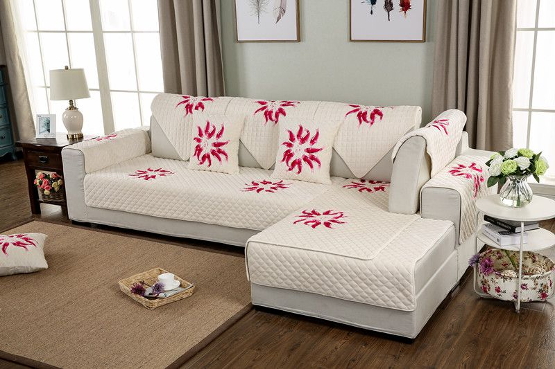 2018 hot sale new kind100%cotton and plush sinply four seasons of sofa cover set