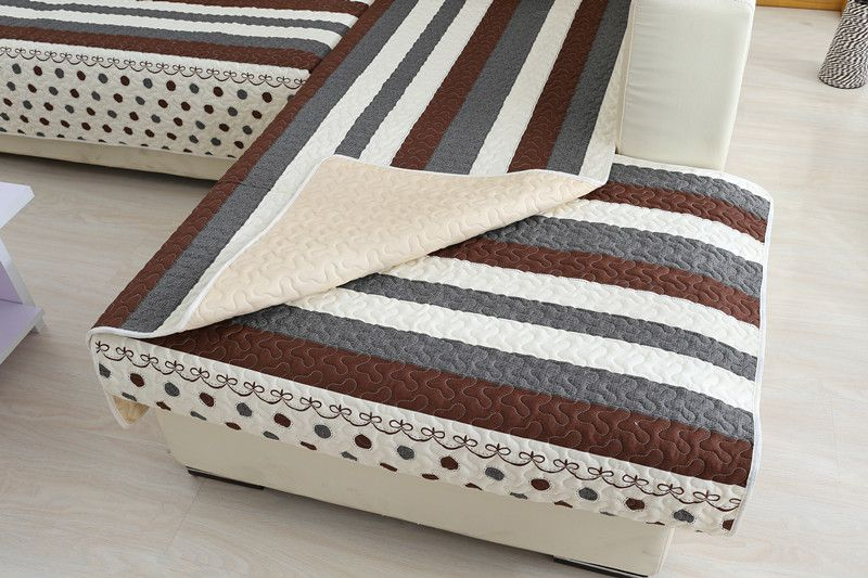 2018 new kind wave point stripe 100%cotton stars skidproof living room four seasons of sofa cover set bay window cushion