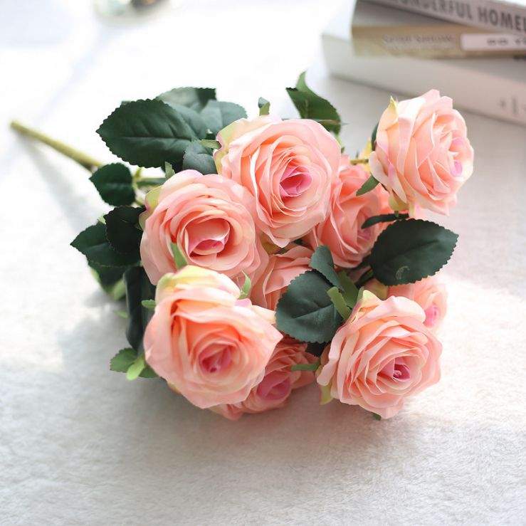 roses 10 heads 1 bounch artificial hawaiian flowers organza flowers ...