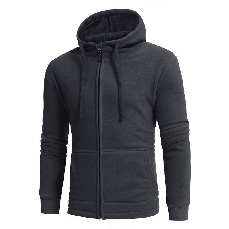 2017 autumn winter big size new polar fleece warm men's leisure zipper hooded sweater solid color men running
