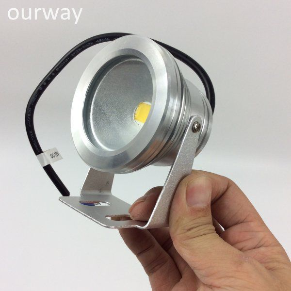 Full Aluminum Silver Body Coloful Light Emitting IP67 12VDC LED 10W Underwater Spotlight, Light Angle Adjustment and Screw Fixing