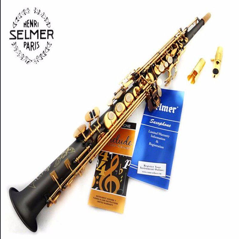 high quality Soprano saxophone54 B sax musical instrument matt one pieceTop Black nickel gold saxophone