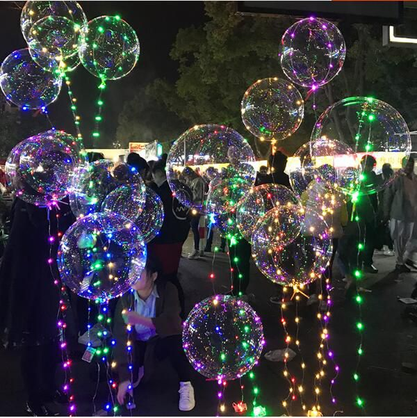 instagram hot sale led ballons bright bubble light up balloon with sparkle led light ribbon birthday