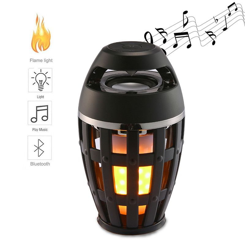 LED Flame Lights Bluetooth Speaker Outdoor Wireless Atmosphere Lights Portable Speaker For iPhone Huawei Camping Cheap Portable Speaker