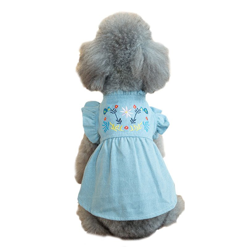 ... New embroider flower pet dog clothes denim dog dress puffed sleeves antumn pet skirt for small  sc 1 st  DHport & New embroider flower pet dog clothes denim dog dress puffed sleeves ...