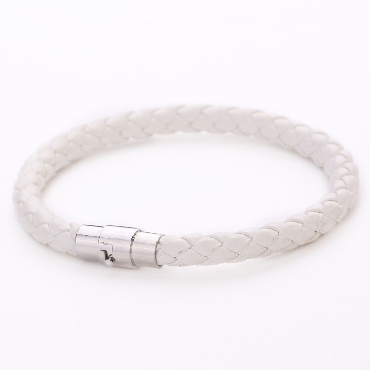 2018 Punk Black Braided Leather Bracelet For Women Magnetic Buckle Simple Style Fashion Wristband Men Jewelry Gifts