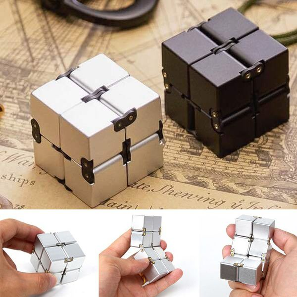 Mini Metal Infinity Cube for Stress Relief Fidget Anti Anxiety Stress Decompression Funny EDC Toy for Kids Adult Gifts
