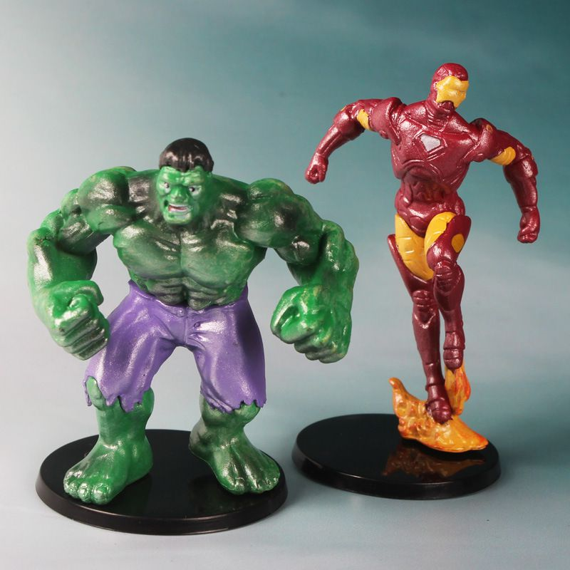 6PCS/Lot Avengers Action Figures Captain America Spiderman Thor Hulk Bat Man X-Man Wolverine Super Heros opp bag 6-7.5CM Super woman ironman