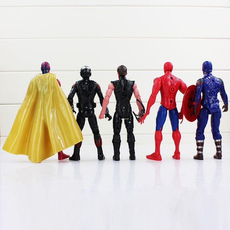 10PCS/Lot Avenger Action Figures Captain America Spiderman Thor Hulk Bat Man X-Man Wolverine Super Hero black widow ironman Hawkeye 16-18CM