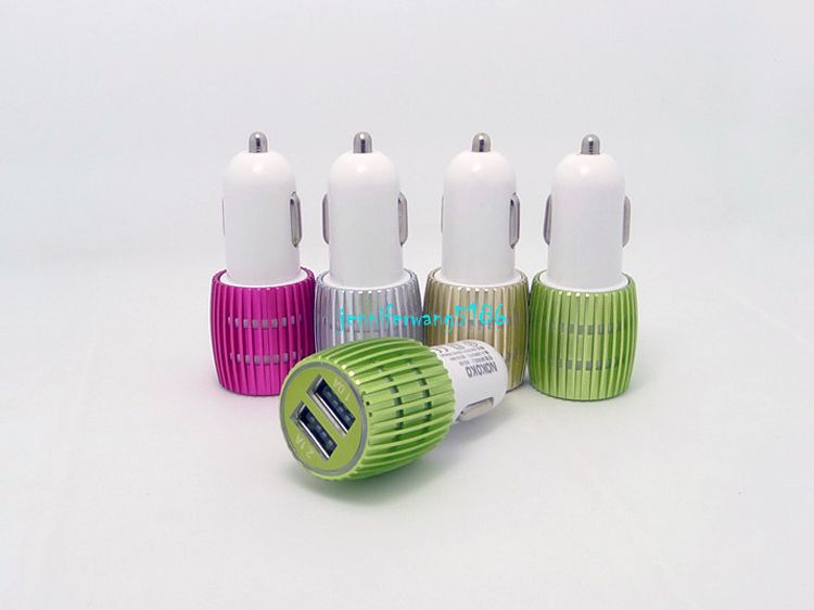 Mini Bullet Shape Dual Car Charger With 2 Ports Universal Adapter For Cellphone Samsung HTC Sony MP3 MP4 High Quality