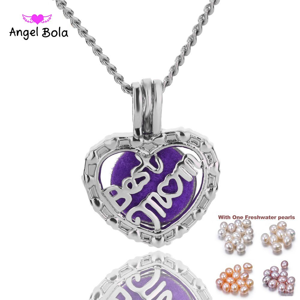 Best Mom Heart Pearl Cage Bead Cage Essential Oil Diffuser Locket Pendant Jewelry Making Oyster Pearl Fun Gifts