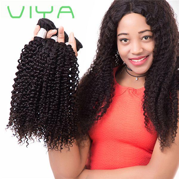 Viya Mongolian Kinky Curly Virgin Hair Weave Bundles 3pc Human Hair