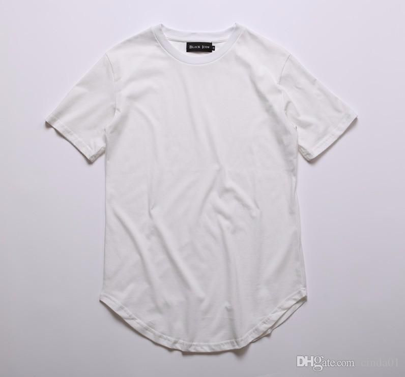 Mens big and tall Clothing designer citi trends Clothes T shirt homme Curved hem Tee plain white Extended T shirt