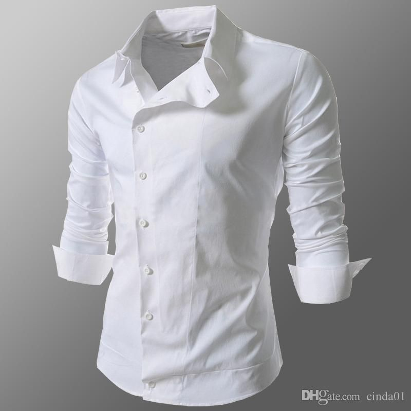 Men Casual Shirts Fashion New Male Business Shirt Slim Fit Autumn Spring Long Sleeved Square Collar Tops Male buttons oblique Tees