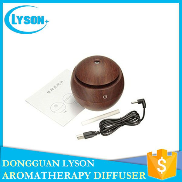 130ml USB Wood Grain Ultrasonic Cool Mist Essential Oil Mini Aroma Diffuser Humidifier With 7 Colors Changed LED Light