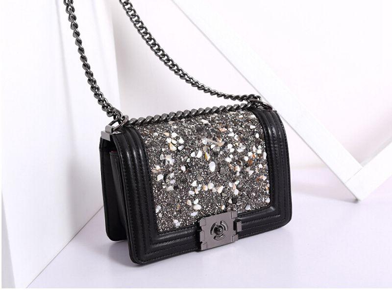 NEW Stylish Diamonds Designer handbags women lock Flap Shoulder bags Chain designer crossbody bags Free Shipping