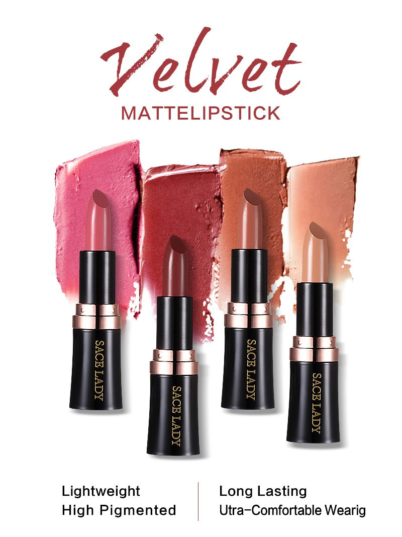 18 color Velvet Matte Lipstick ,Long Wearing High Pigmented Lipstick