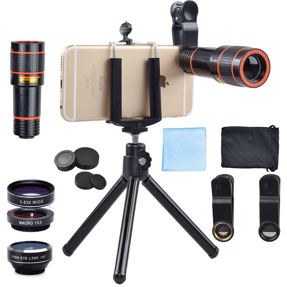 top seller 2018 mobile lens universal clip phone ultra zoom 12x telescope fishheye 4in1 lens kit with tripod