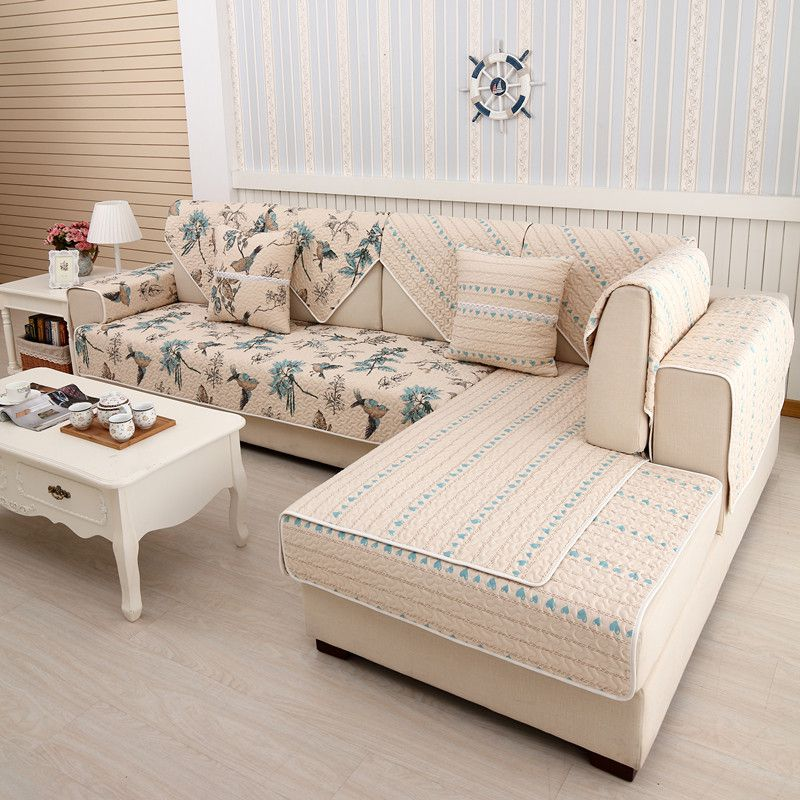 2018 SUPERIA new kind100%cotton double side four seasons of sofa cover set