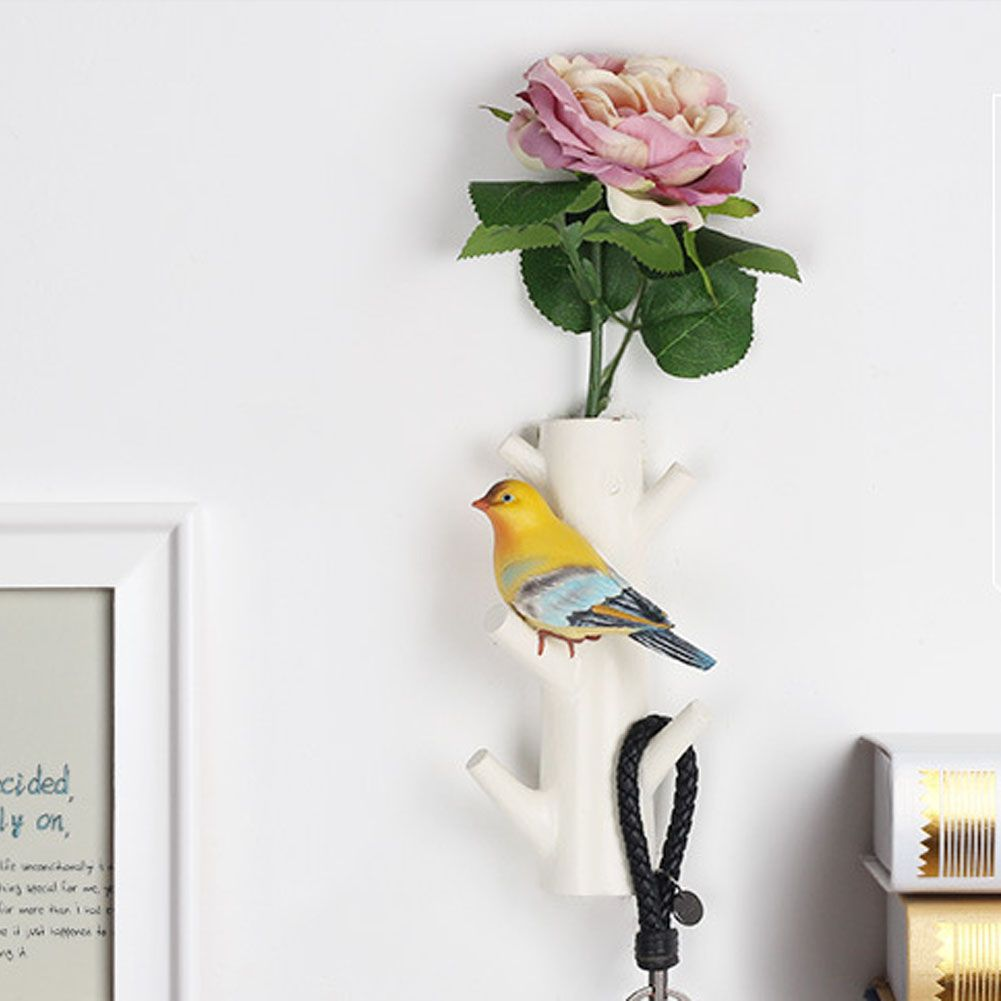 KGTECH Resin Craft Robe Hooks Wall Europe Pastorl Style Hanging and Rose and Bird Hook for Bathroom