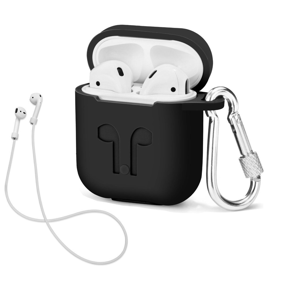 AirPods Case with Strap Protective Silicone Cover with Carabiner for Apple iPhone 7 8 x plus wireless earphone Airpods Accessories