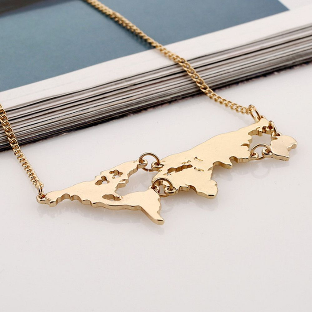2017 New Arrival Exaggerated World Map Combination Necklace Pendant 2 Colors for Chioce Free Shipping Wholesale