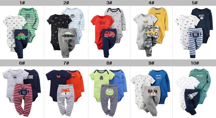 Newest Lovely Baby Romper Sets 3 Pcs Sets Baby Boys Girls Rompers Jumpsuits 100% Cotton Newborn Clothing 2 pcs romper+pant