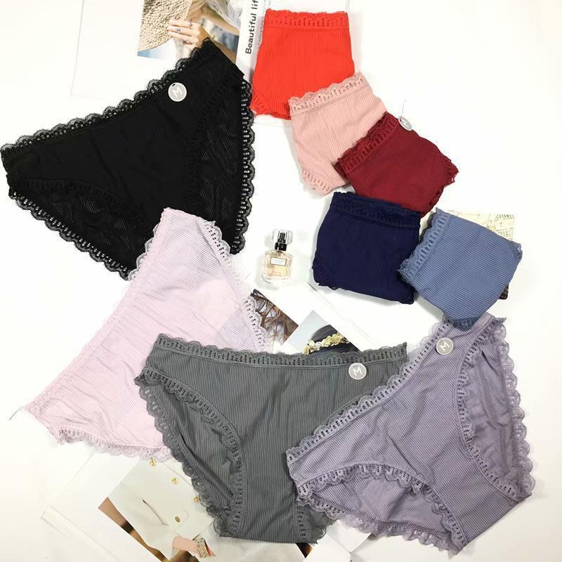 2018 New Women Cotton Lace Sexy Hot Low Waist Traceless Briefs Panties 5pcs/lot drop shipping