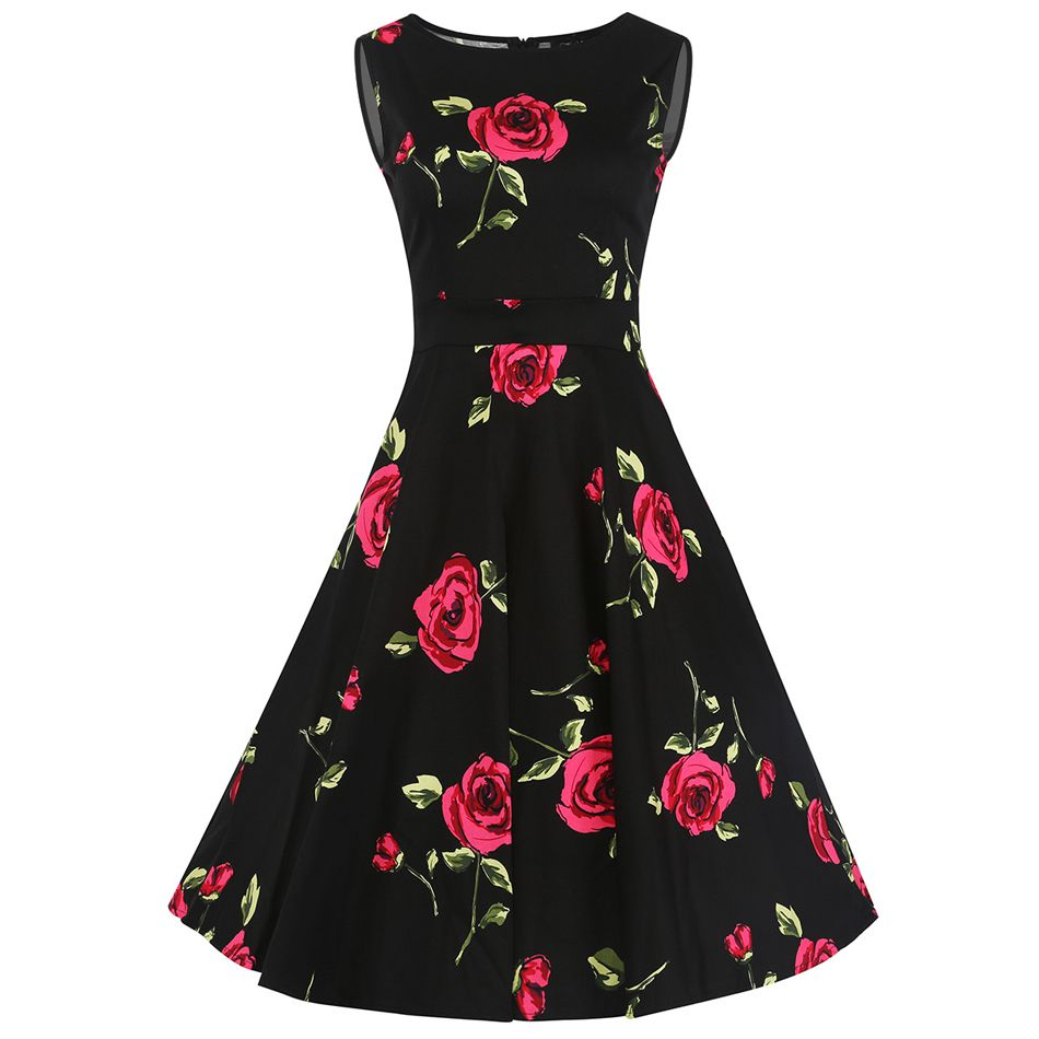 Sweet Cute Women Sleeveless Knee-length 1950s 20s Vintage Retro Dress Bow-knot Swing Dress Floral Print Cocktail Rose Summer Dresses