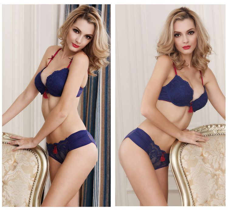 Deep V bow lace edge embroidery brand court bra pendant lady sexy lingerie bra set TZ34609001 W